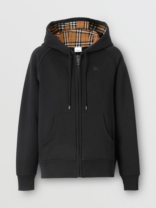 Vintage Check Detail Jersey Hooded Top in Black - Women | Burberry - cell image 3