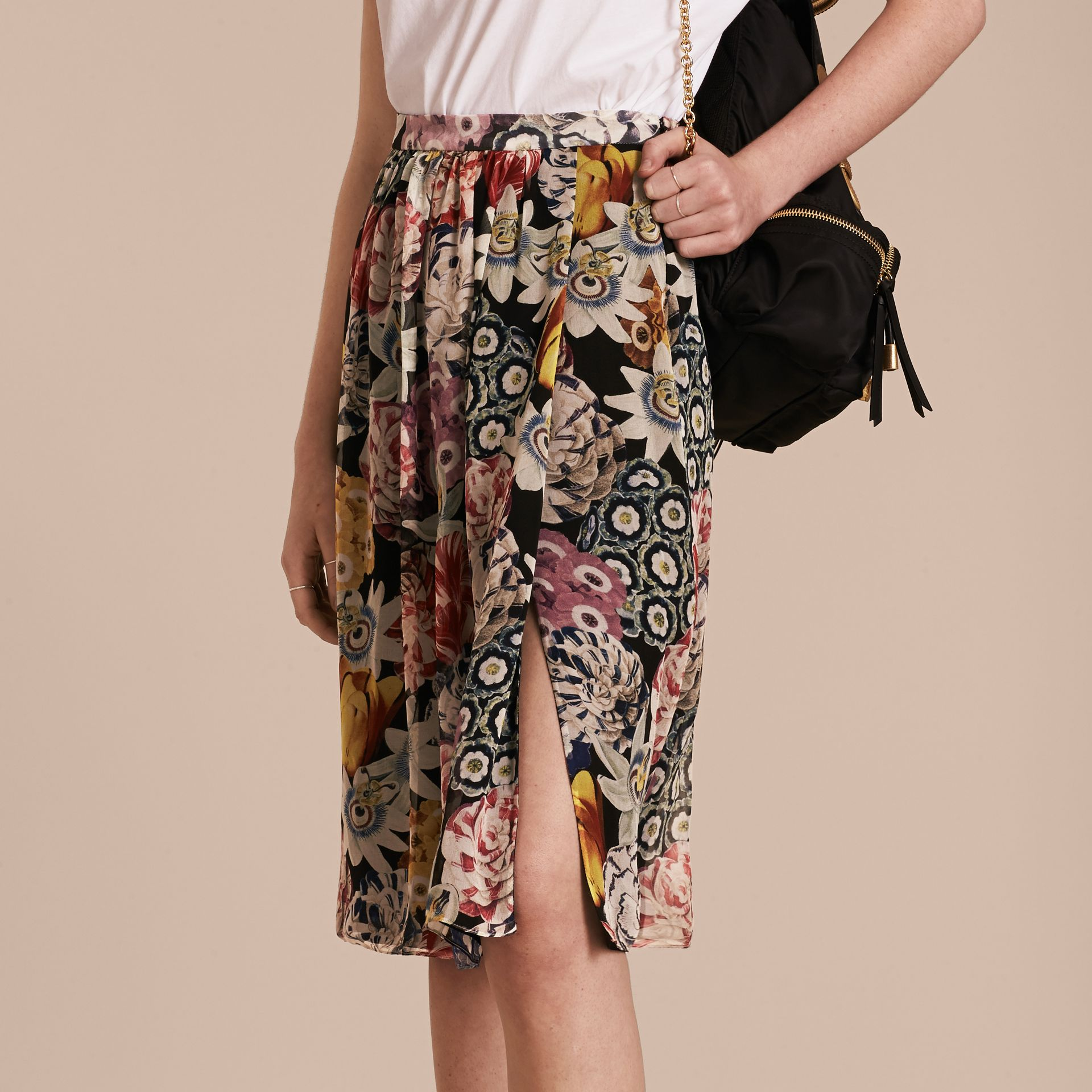 Black Gathered Floral Print Silk Skirt - gallery image 6