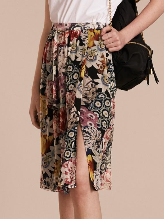 Gathered Floral Print Silk Skirt
