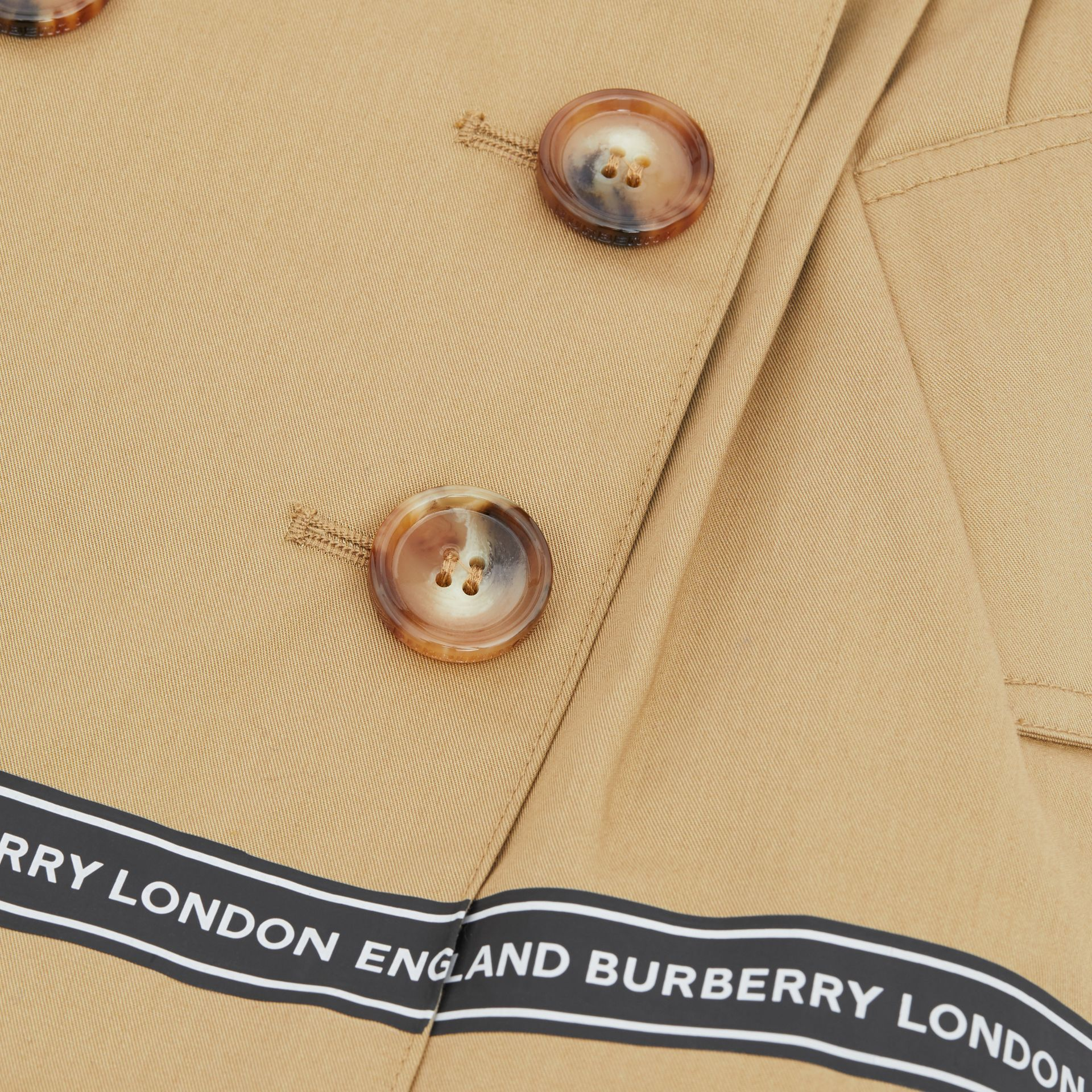 Logo Tape Cotton Twill Skirt in Honey - Children | Burberry United Kingdom - gallery image 1