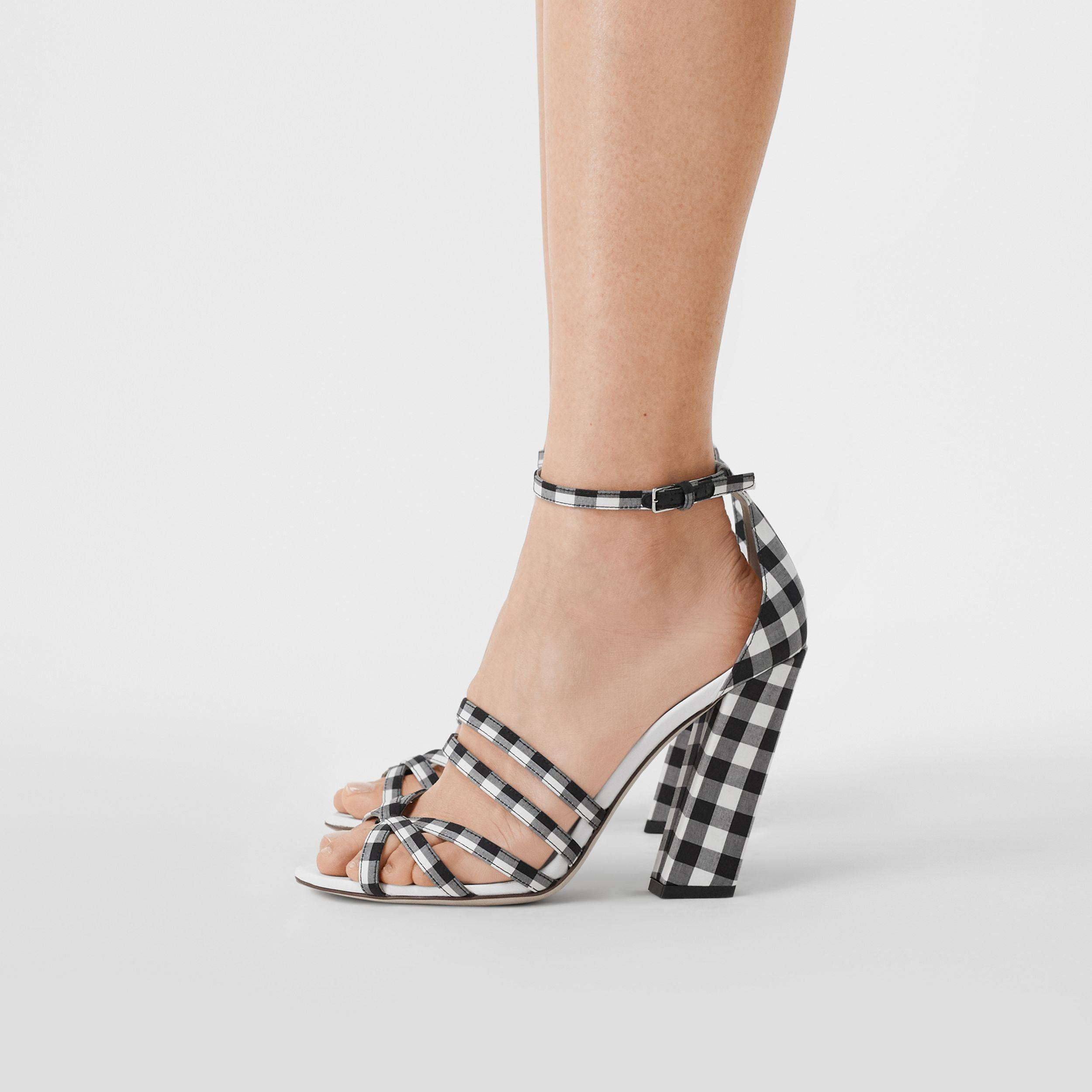 Split-Toe Detail Gingham Cotton Sandals in Black/white - Women | Burberry Hong Kong S.A.R. - 3