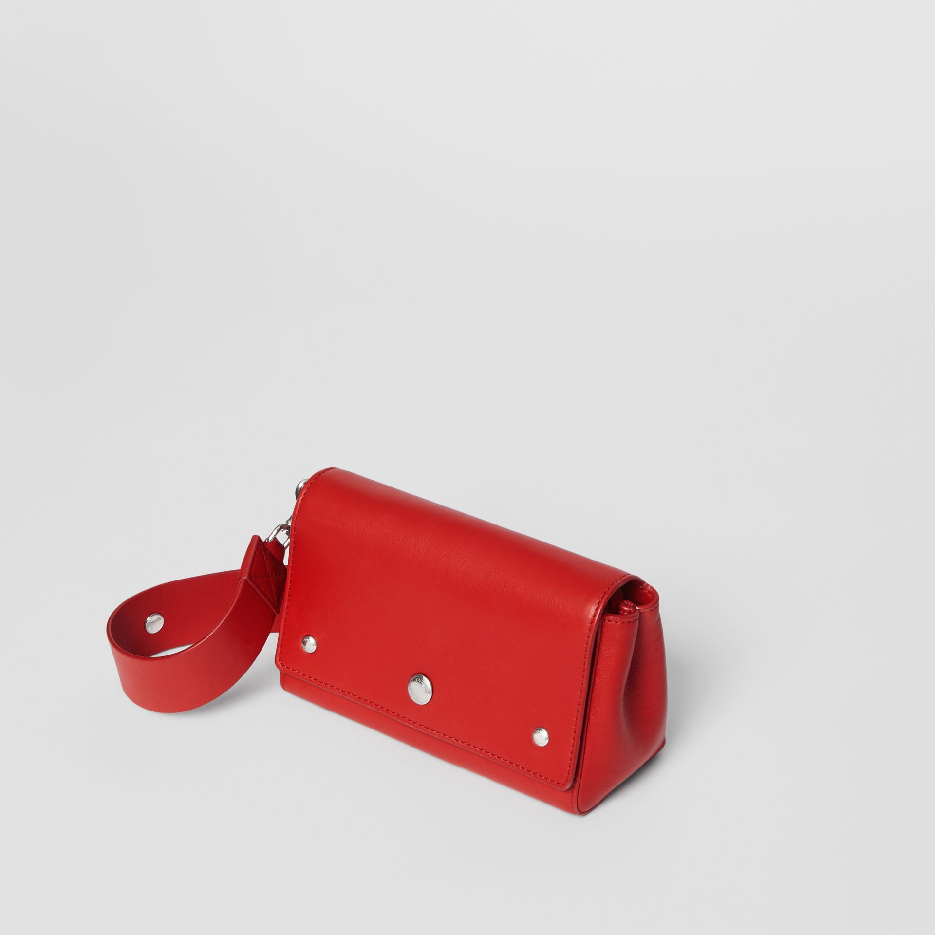 Small Quote Print Grainy Leather Crossbody Bag in Bright Military Red - Women | Burberry Singapore - gallery image 3