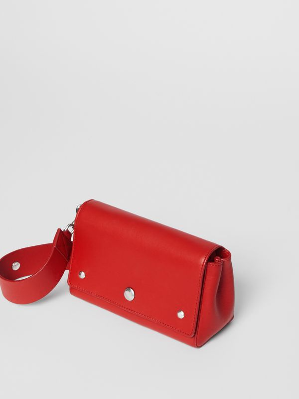 Small Quote Print Grainy Leather Crossbody Bag in Bright Military Red - Women | Burberry - cell image 3
