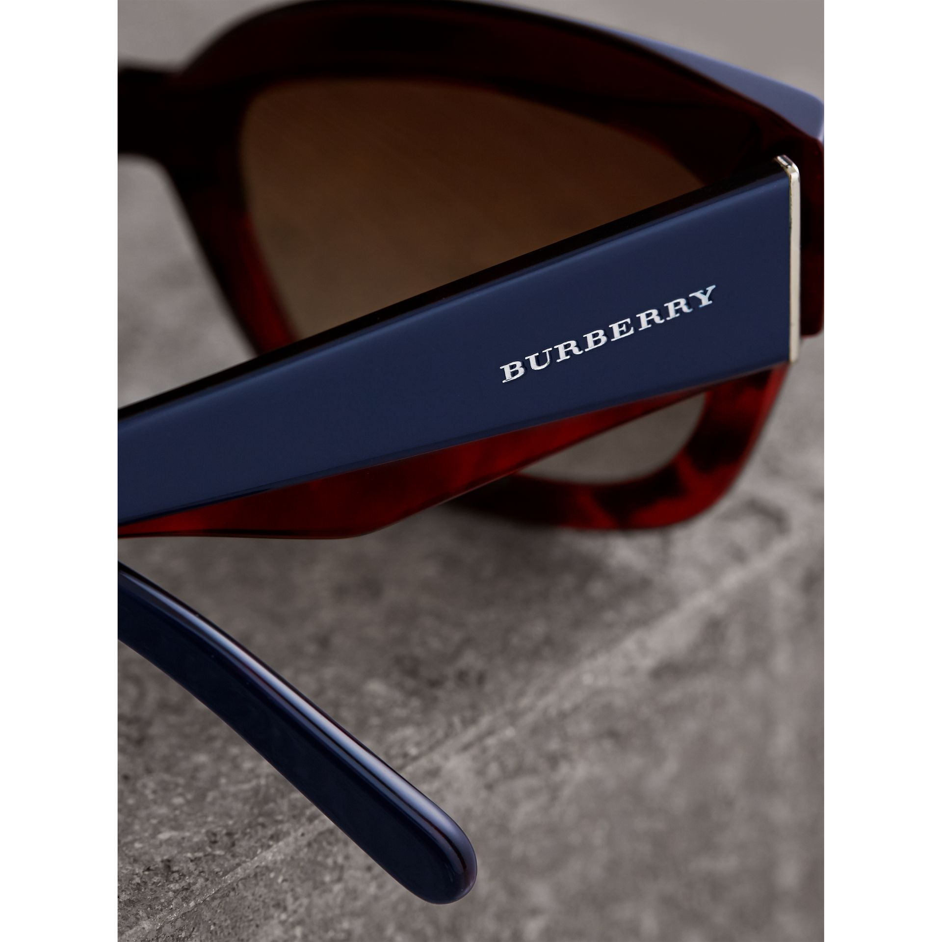 Square Frame Sunglasses in Navy - Women | Burberry - gallery image 1