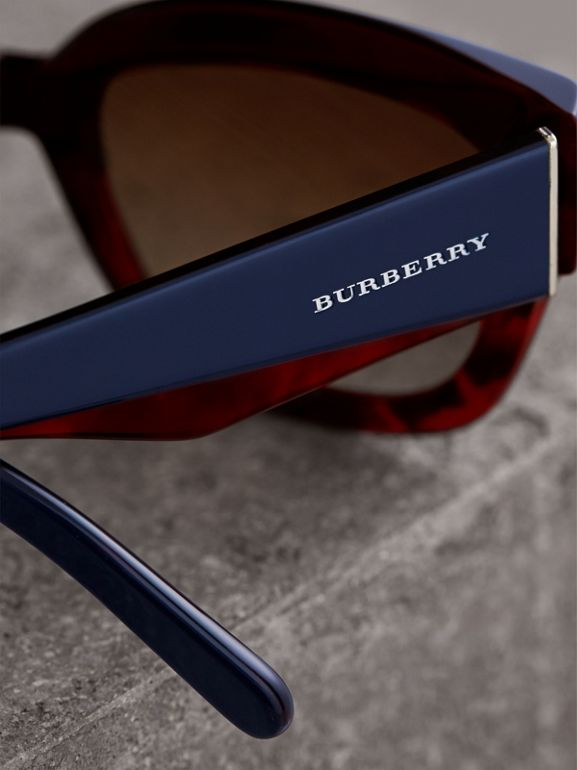 Square Frame Sunglasses in Navy - Women | Burberry - cell image 1