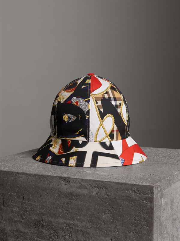 Graffiti Scarf Print Bucket Hat in Multicolour | Burberry - cell image 3