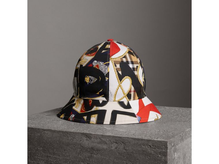Graffiti Scarf Print Bucket Hat in Multicolour | Burberry - cell image 2
