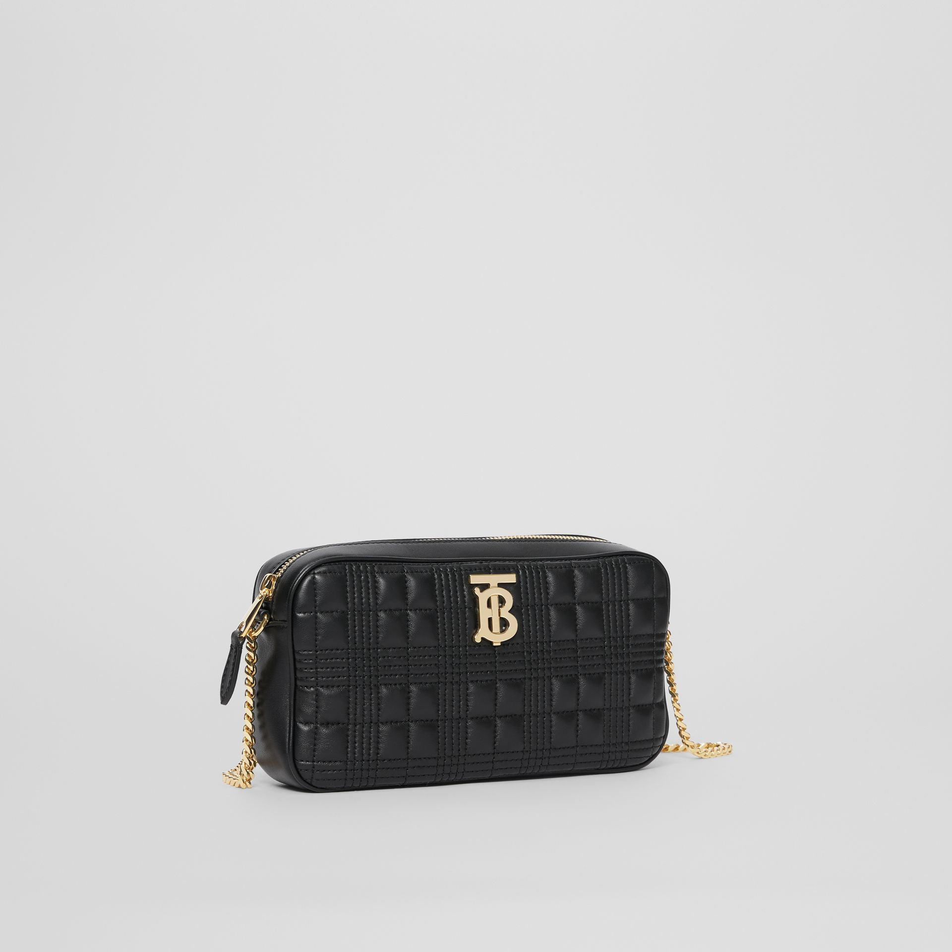 Quilted Check Lambskin Camera Bag in Black - Women | Burberry - gallery image 6