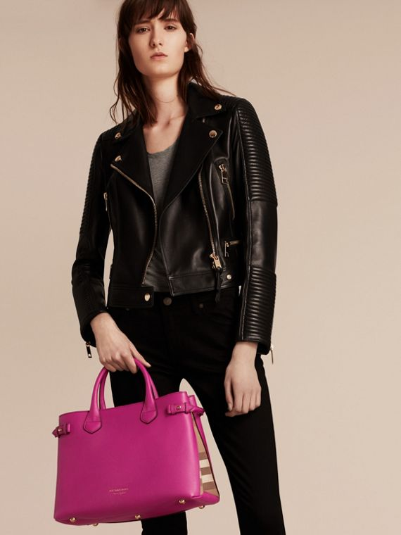 The Medium Banner in Leather and House Check in Brilliant Fuchsia - Women | Burberry - cell image 2