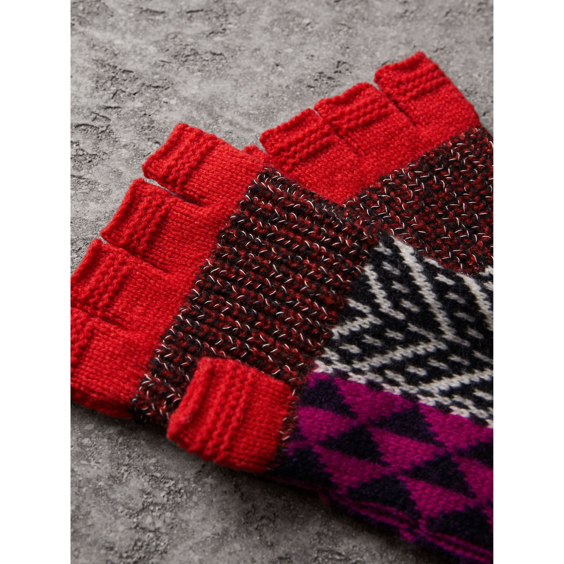 Wool Cashmere Blend Fingerless Patchwork Gloves in Military Red | Burberry - gallery image 1