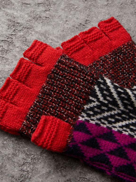 Wool Cashmere Blend Fingerless Patchwork Gloves in Military Red | Burberry - cell image 1