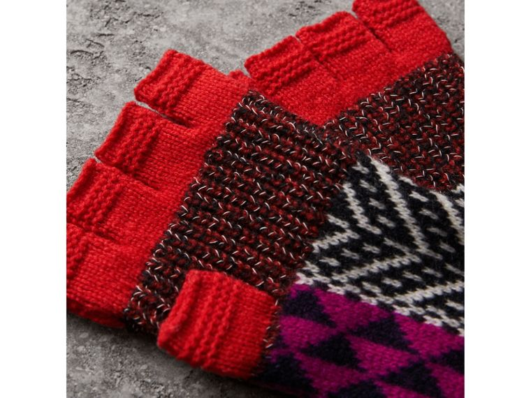 Wool Cashmere Blend Fingerless Patchwork Gloves in Military Red | Burberry United Kingdom - cell image 1