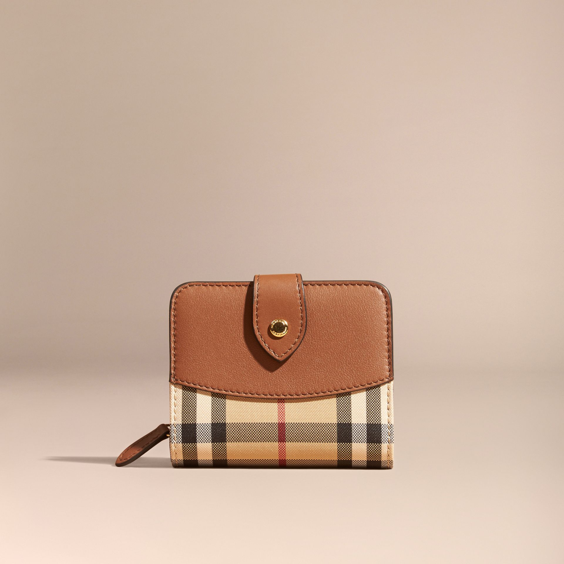 Tan Horseferry Check and Leather Wallet Tan - gallery image 6