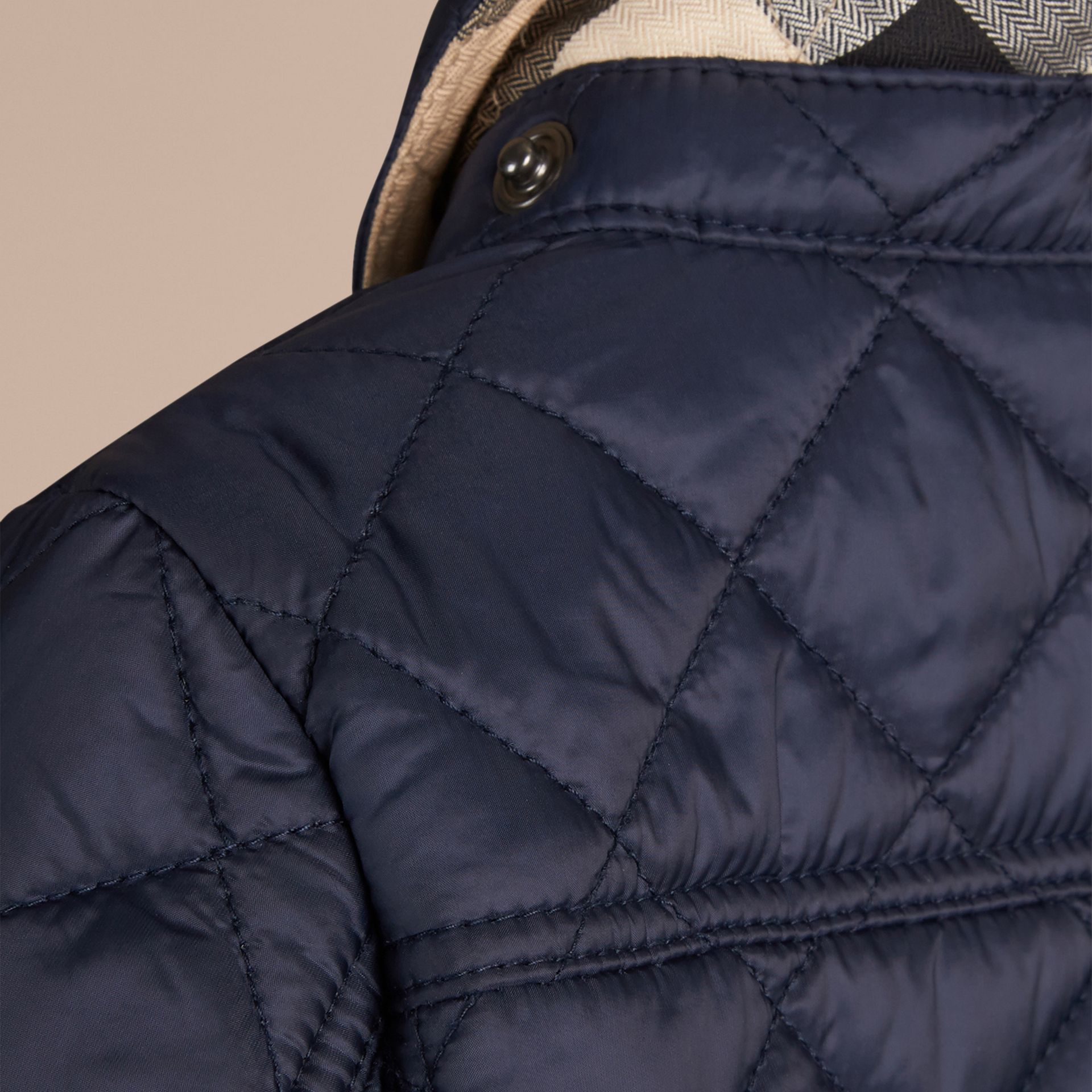 Check Detail Diamond-quilted Jacket Ink Blue - gallery image 2