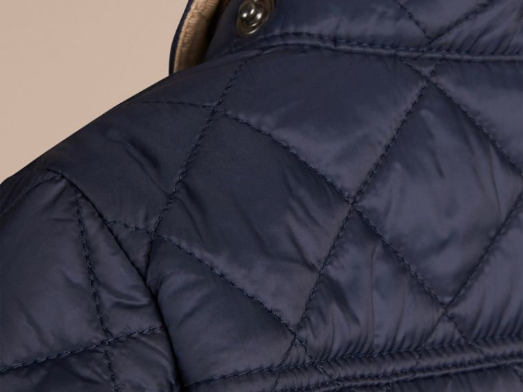 Check Detail Diamond-quilted Jacket in Ink Blue - cell image 1