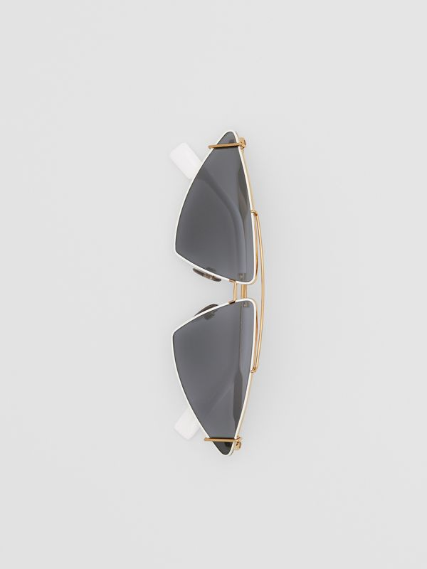 Gold-plated Triangular Frame Sunglasses in White - Women | Burberry Australia - cell image 3