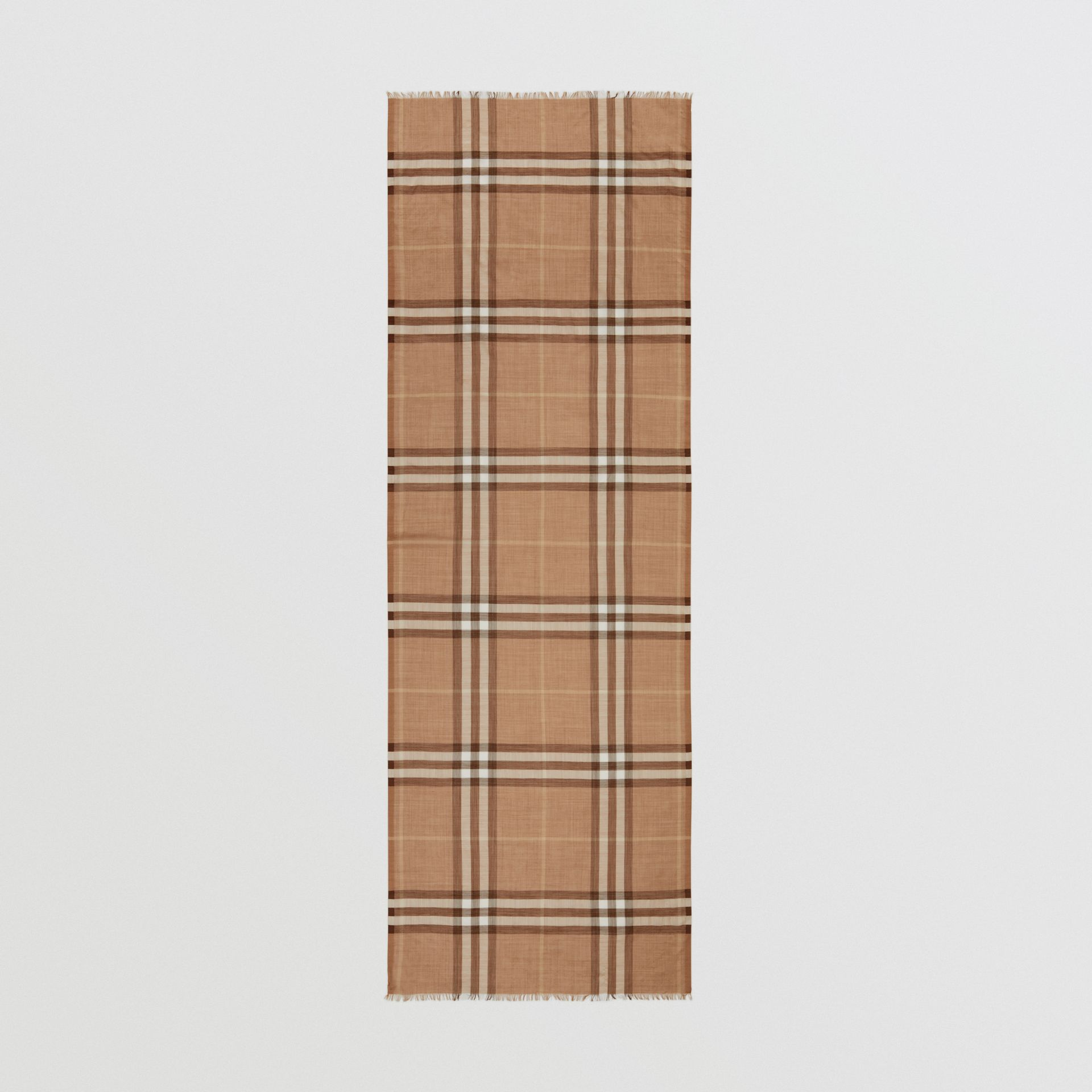 Lightweight Check Wool Silk Scarf in Mid Camel | Burberry - gallery image 5