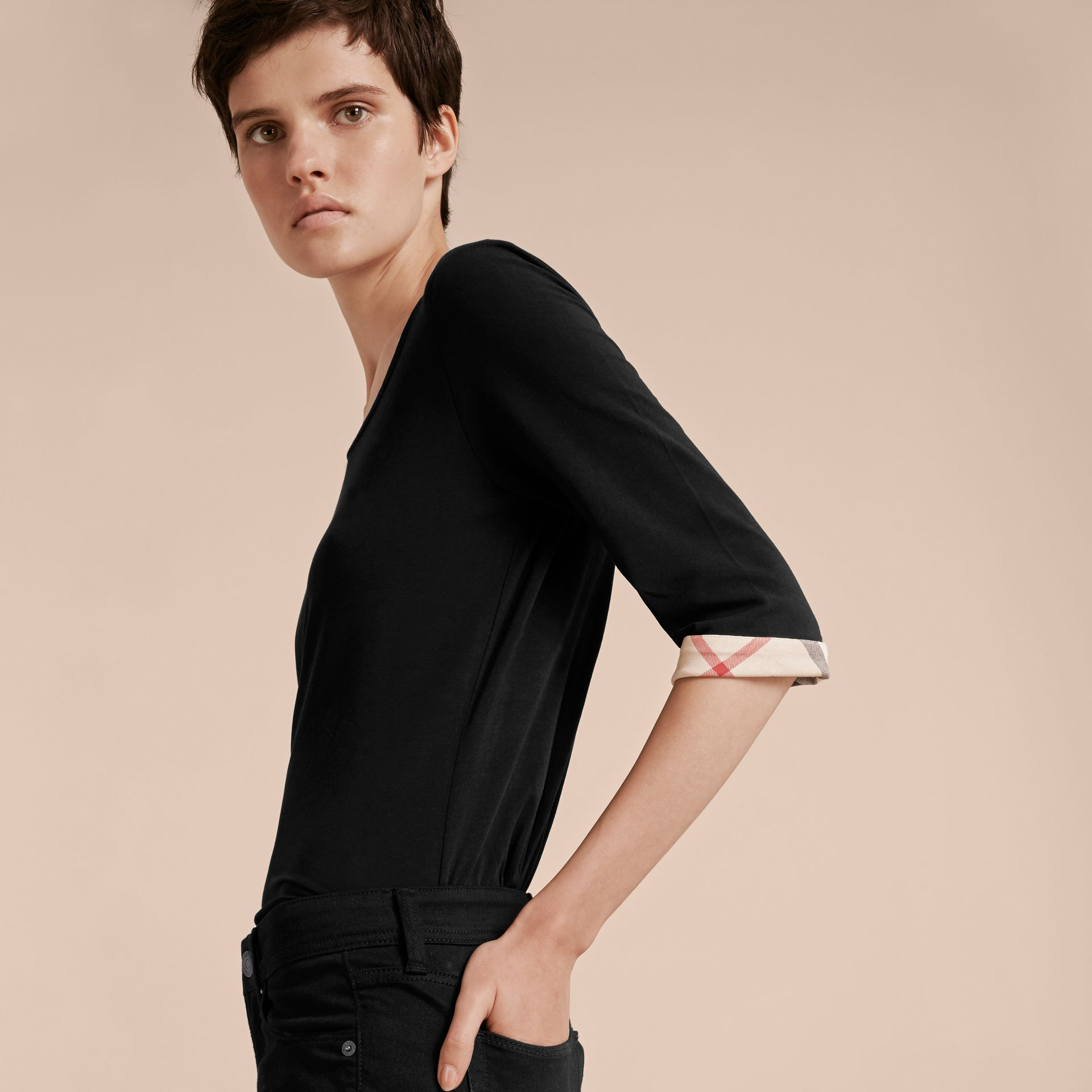 Check Cuff Stretch-Cotton Top Black - gallery image 5