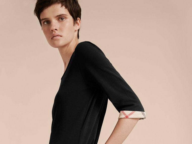 Check Cuff Stretch-Cotton Top in Black - cell image 4