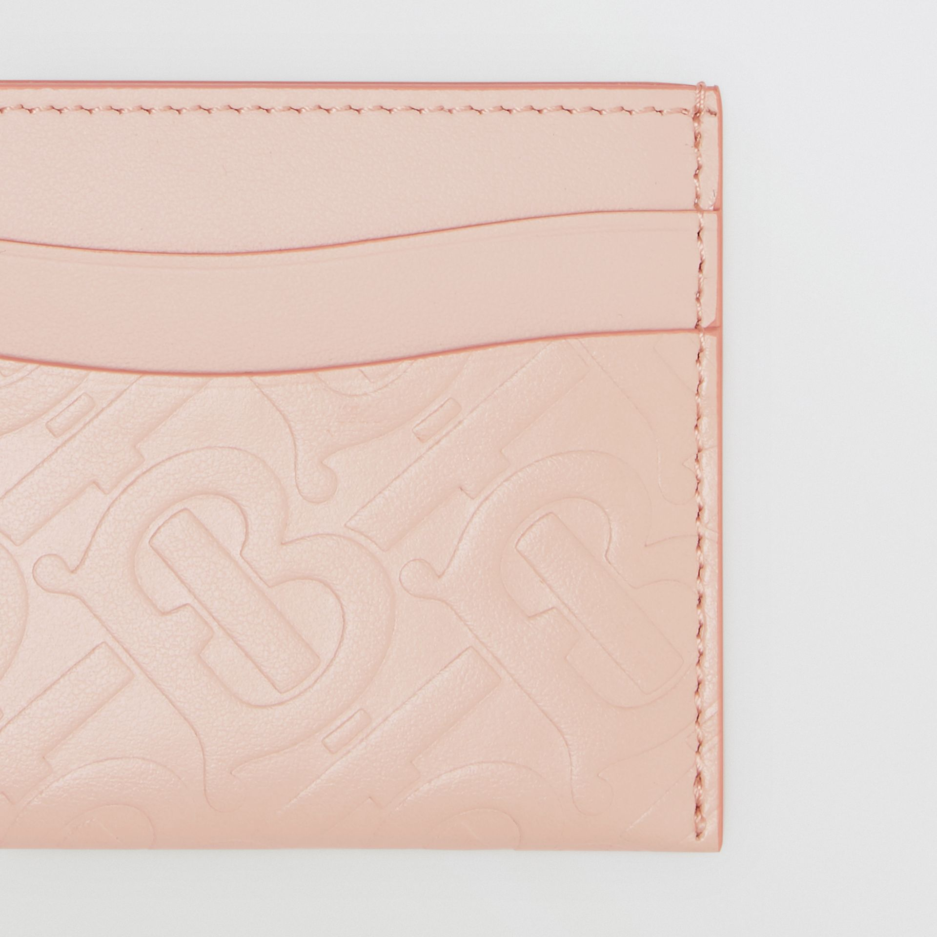 Monogram Leather Card Case in Rose Beige - Women | Burberry United Kingdom - gallery image 1