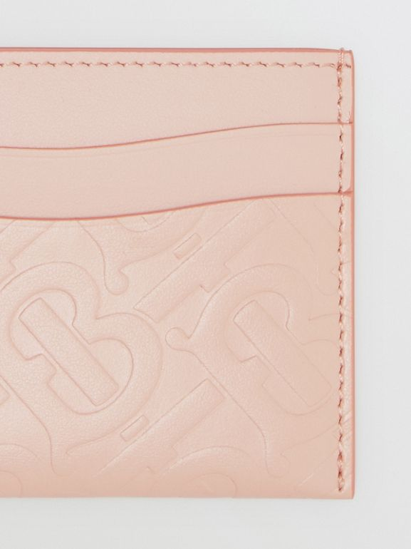 Monogram Leather Card Case in Rose Beige - Women | Burberry United Kingdom - cell image 1