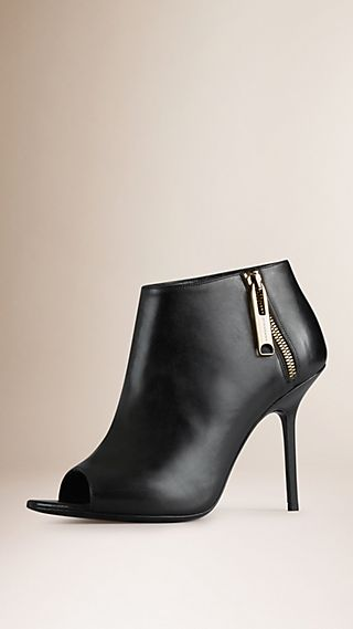 Zip Detail Peep-Toe Leather Ankle Boots