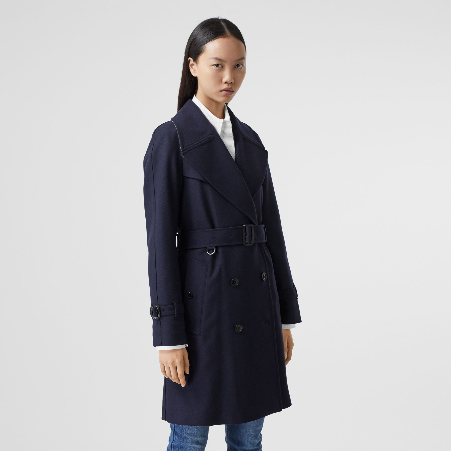 Herringbone Wool Cashmere Blend Trench Coat in Navy - Women | Burberry - gallery image 6