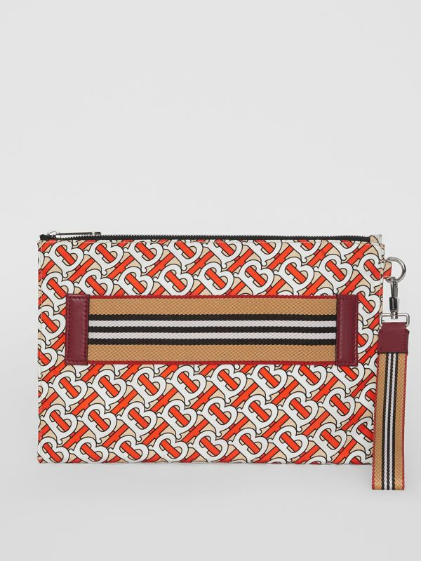 Monogram Print Zip Pouch in Vermilion | Burberry - cell image 3