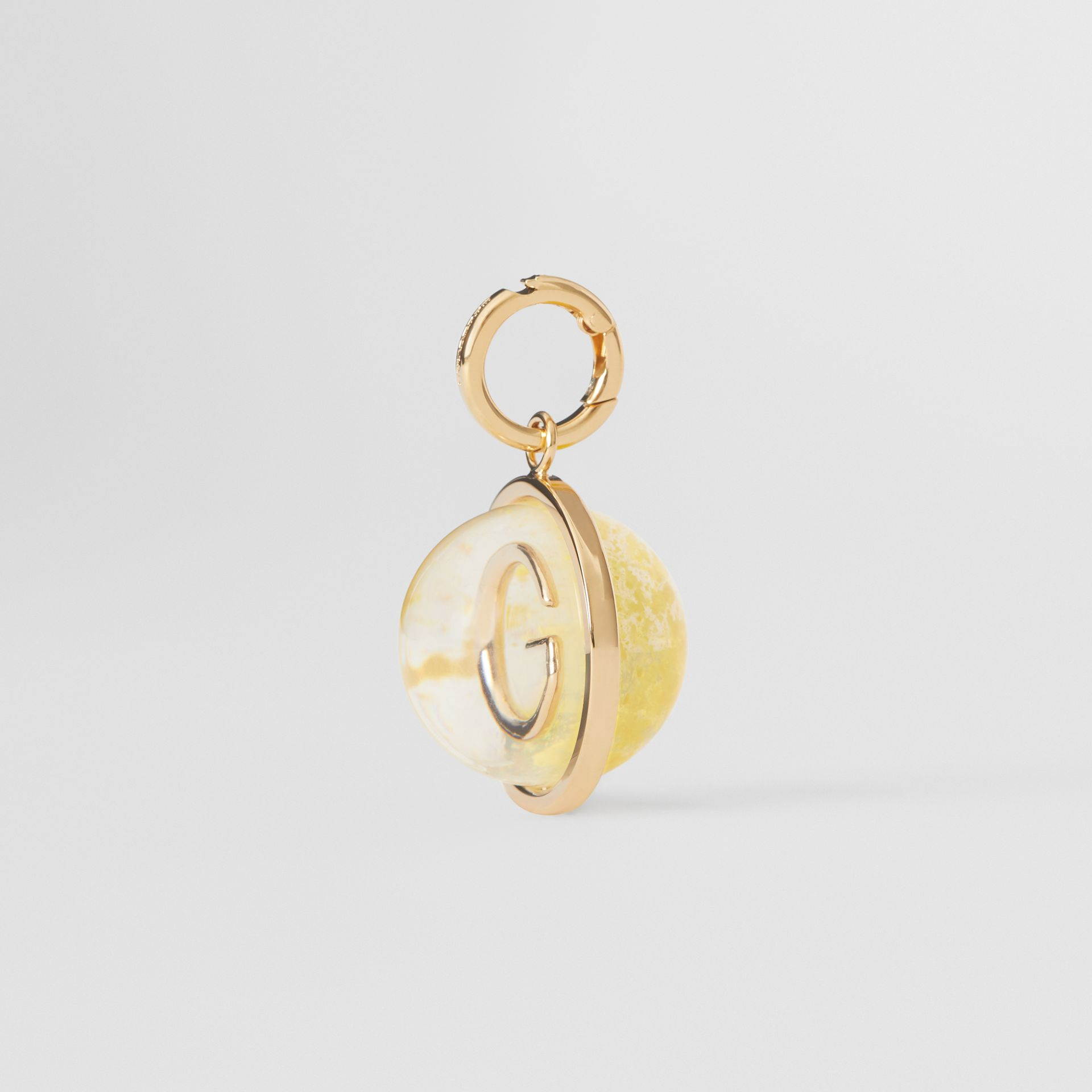 Marbled Resin 'G' Alphabet Charm in Gold/mimosa - Women | Burberry United Kingdom - gallery image 4