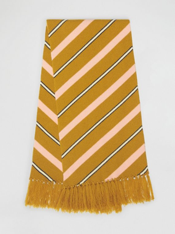 Tri-tone Striped Wool Cashmere Scarf in Dusty Yellow