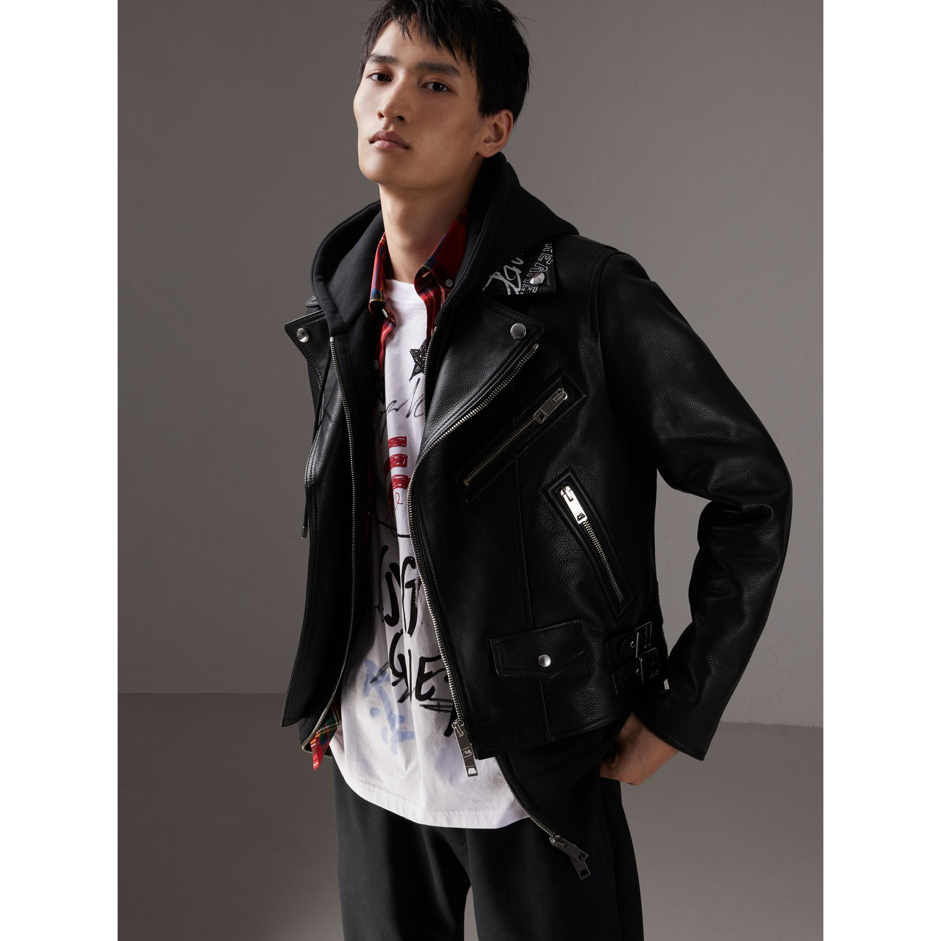 Burberry x Kris Wu Leather Biker Jacket in Black - Men | Burberry Hong Kong - gallery image 6