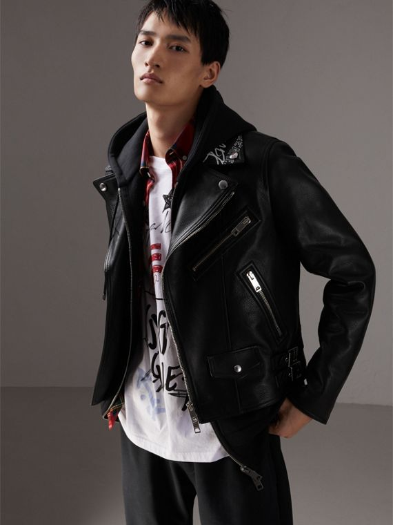 Burberry x Kris Wu Leather Biker Jacket in Black