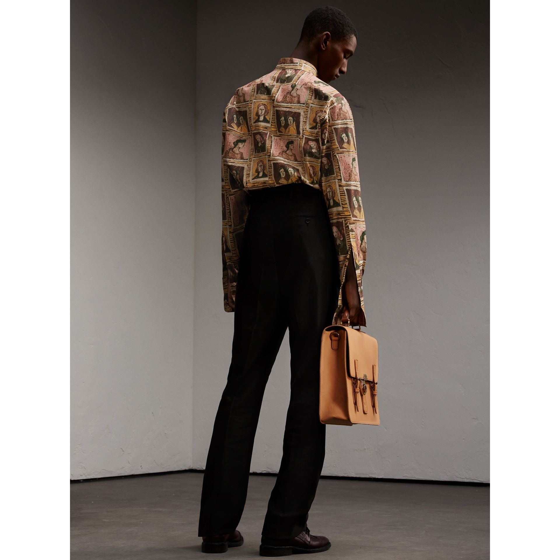 Framed Heads Print Cotton Shirt in Umber Brown - Men | Burberry - gallery image 3