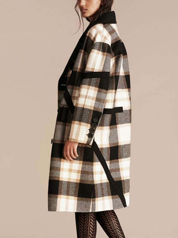Black/camel Double-breasted Check Wool Coat - cell image 2
