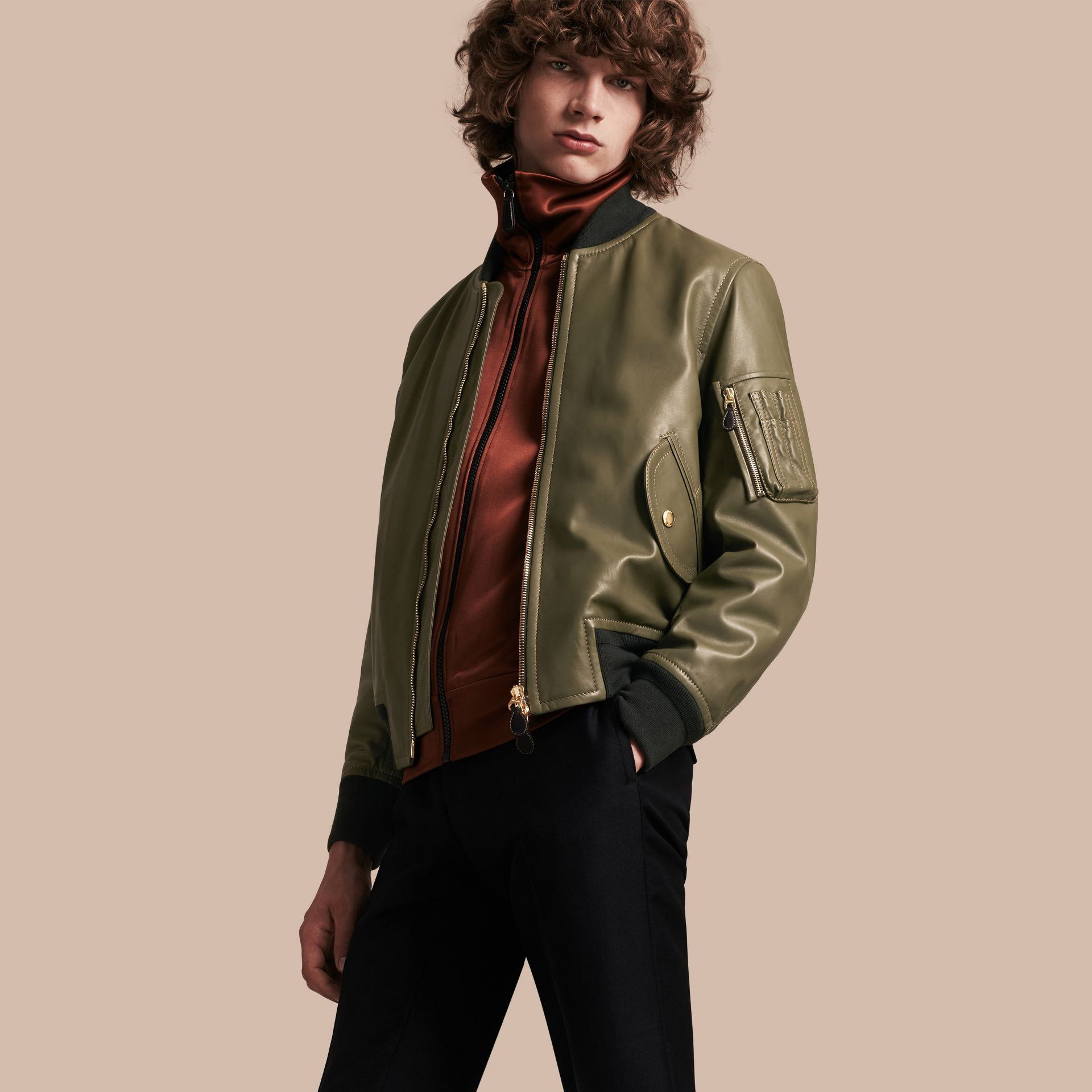 Light military green Lambskin Bomber Jacket - gallery image 1