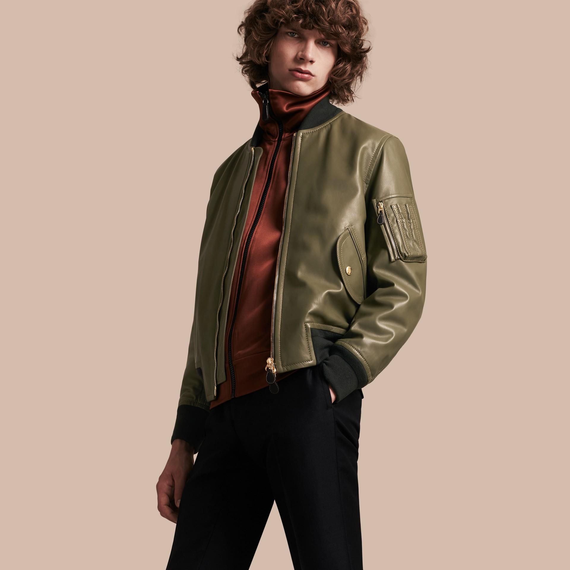 Светлый армейский зеленый Кожаная куртка «пилот» - изображение 1