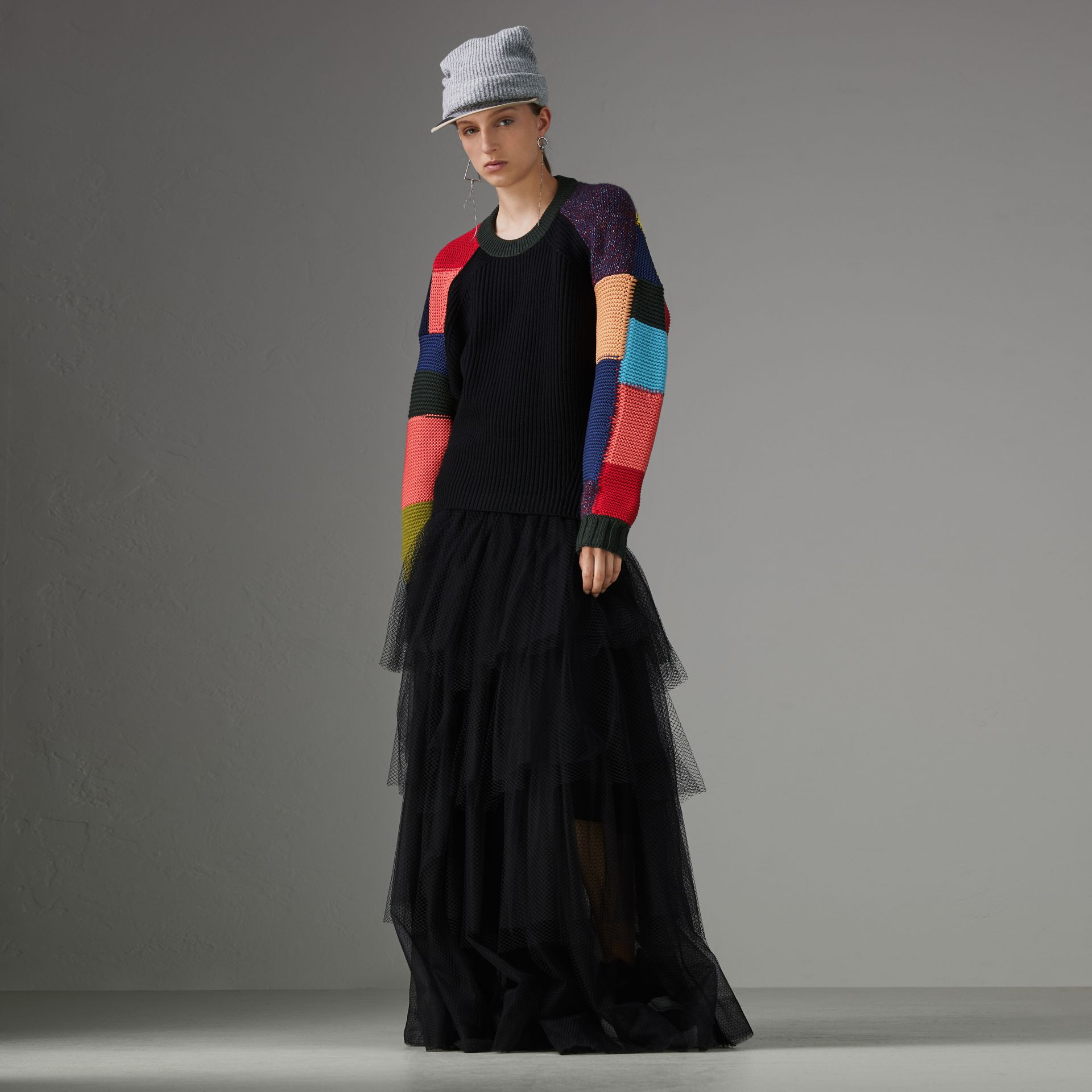 Patchwork Wool Blend Sweater in Multicolour - Women | Burberry Australia - gallery image 0
