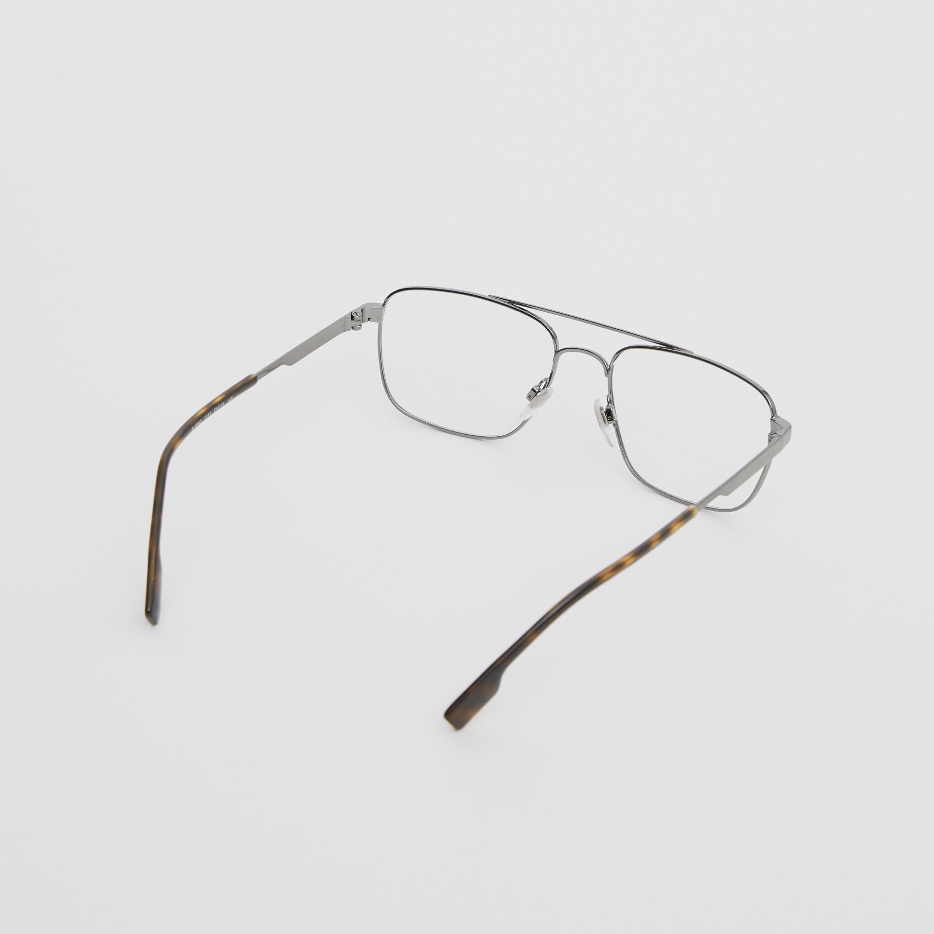 Rectangular Navigator Optical Frames in Dark Grey | Burberry - gallery image 3