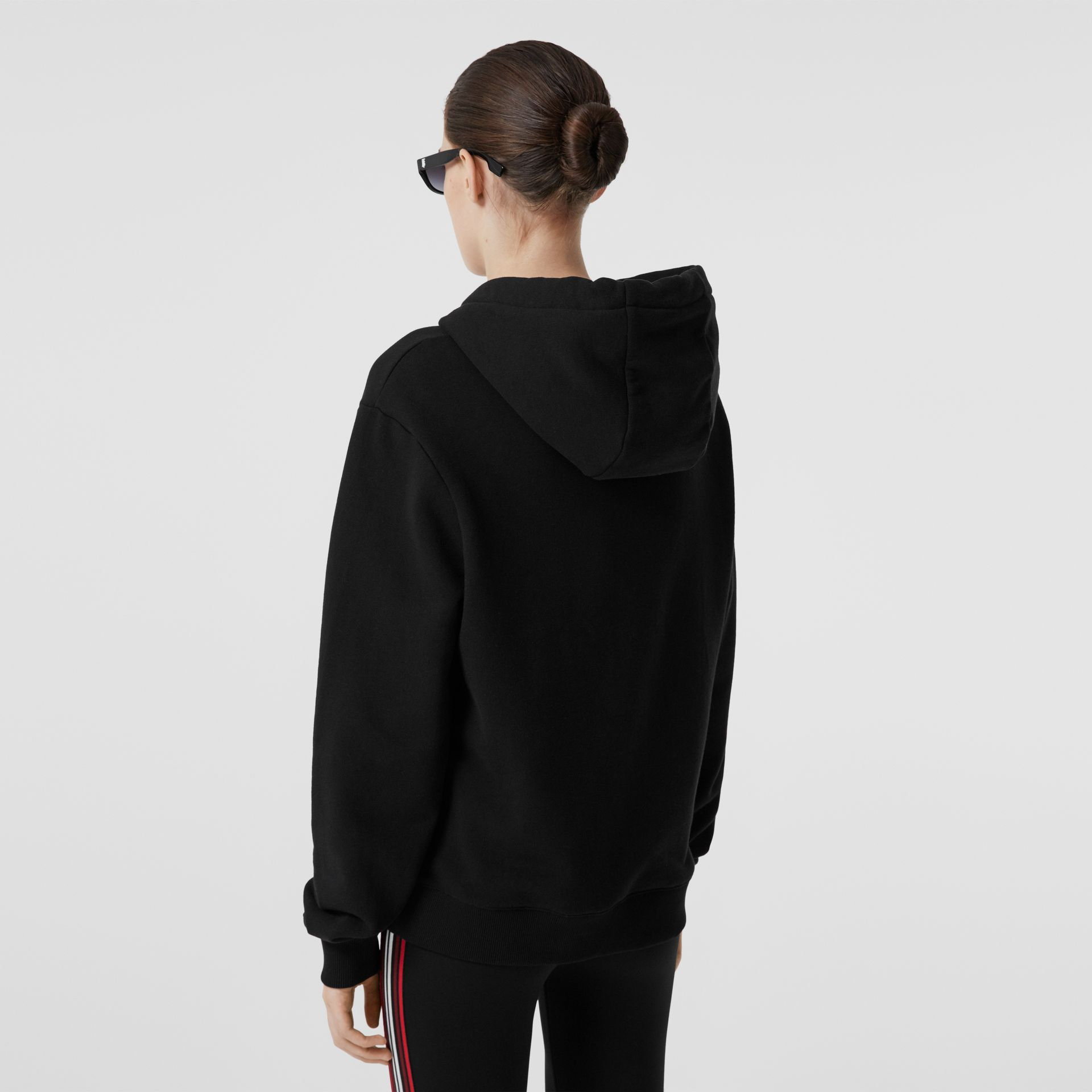 Location Print Cotton Oversized Hoodie in Black - Women | Burberry - gallery image 2