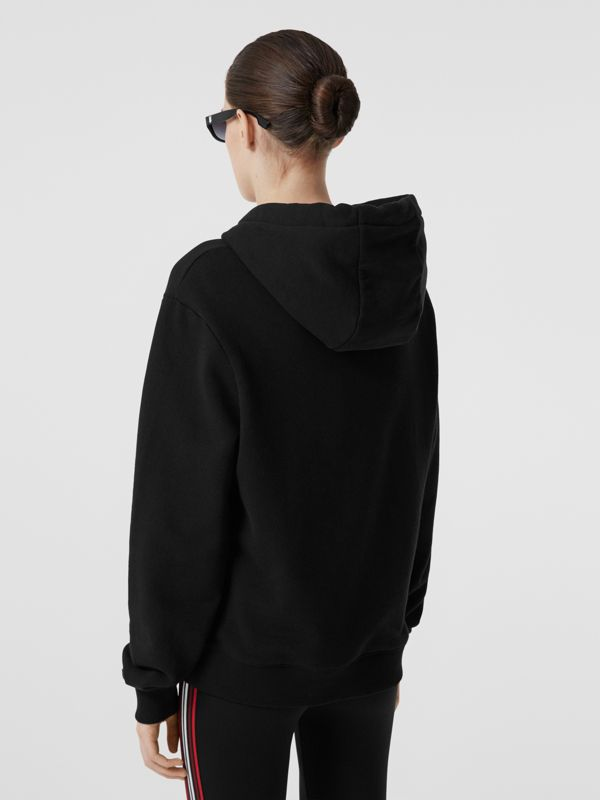 Location Print Cotton Oversized Hoodie in Black - Women | Burberry - cell image 2
