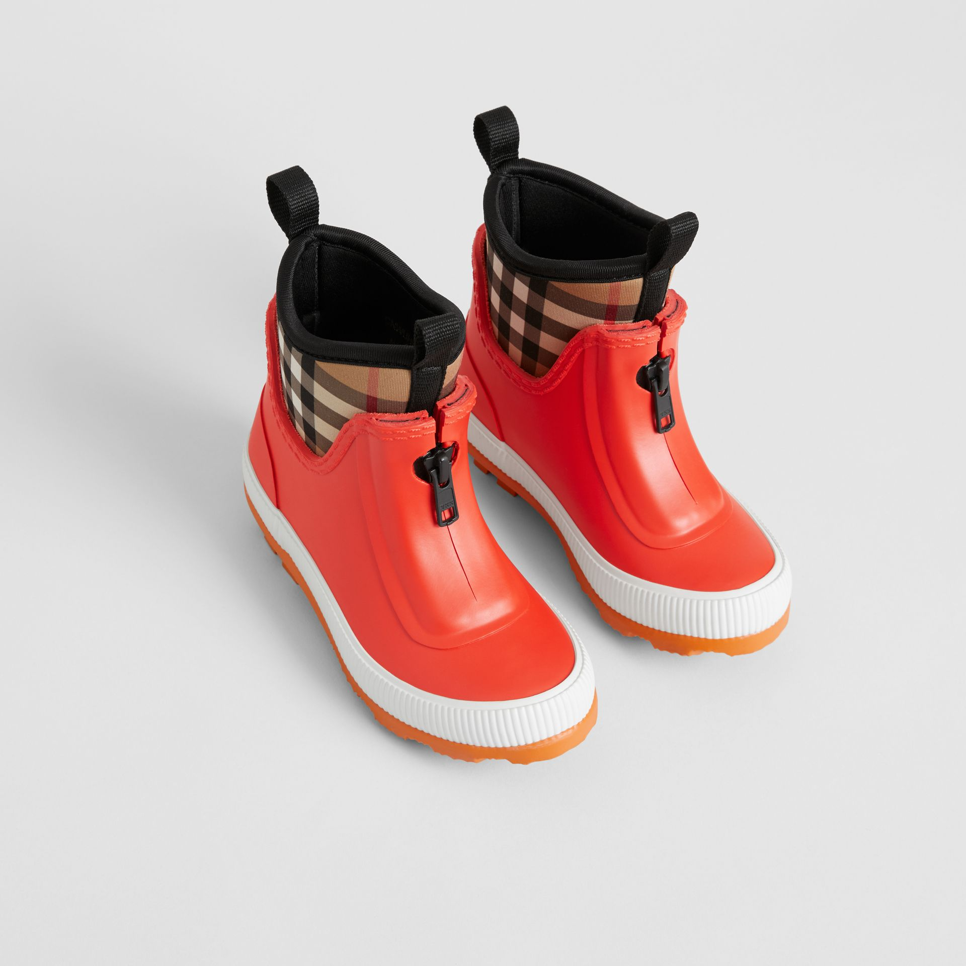 Vintage Check Neoprene and Rubber Rain Boots in Bright Red - Children | Burberry Singapore - gallery image 0