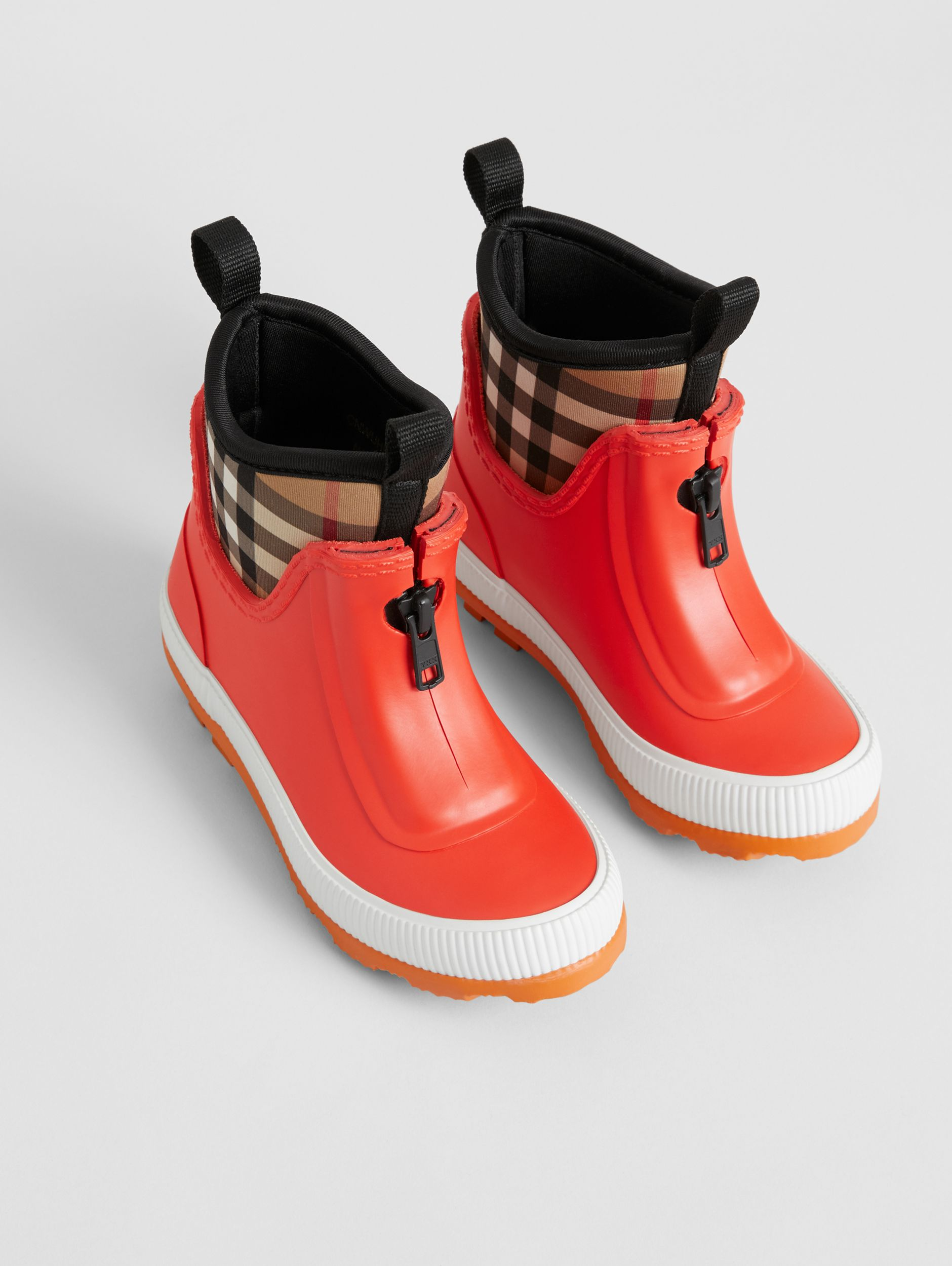Vintage Check Neoprene and Rubber Rain Boots in Bright Red - Children | Burberry - 1