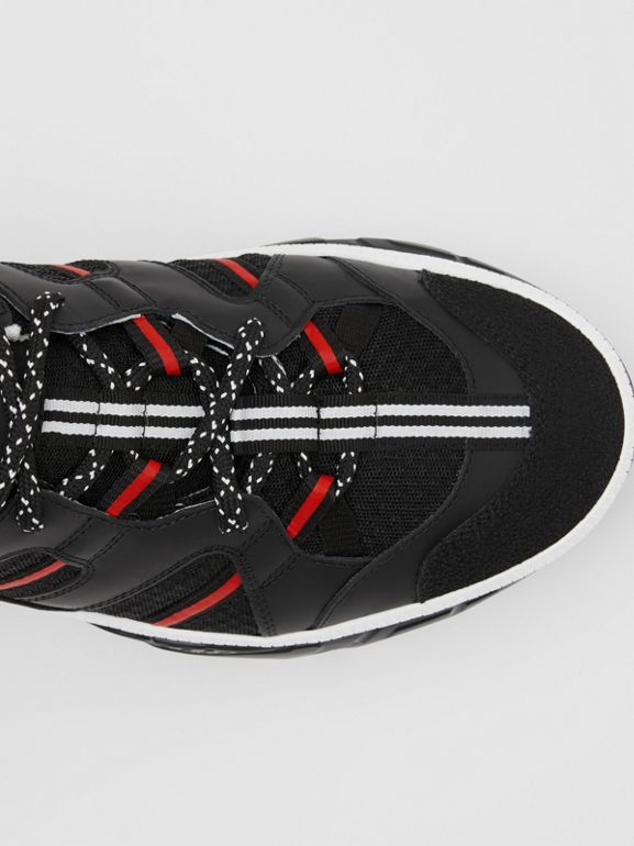 Mesh and Nubuck Union Sneakers in Black/red - Men | Burberry Hong Kong - cell image 1