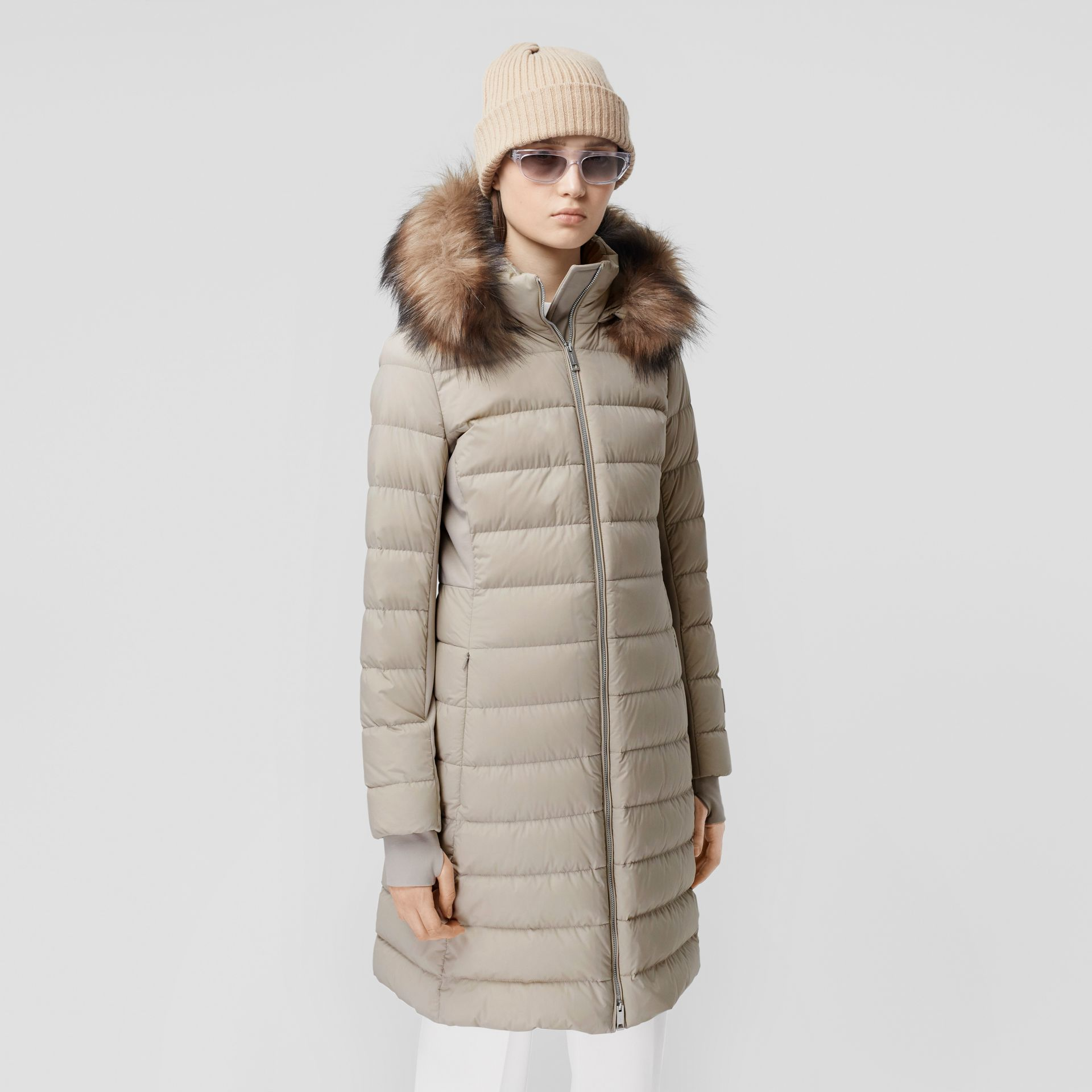 Detachable Faux Fur Trim Hooded Puffer Coat in Neutral Olive - Women | Burberry - gallery image 6