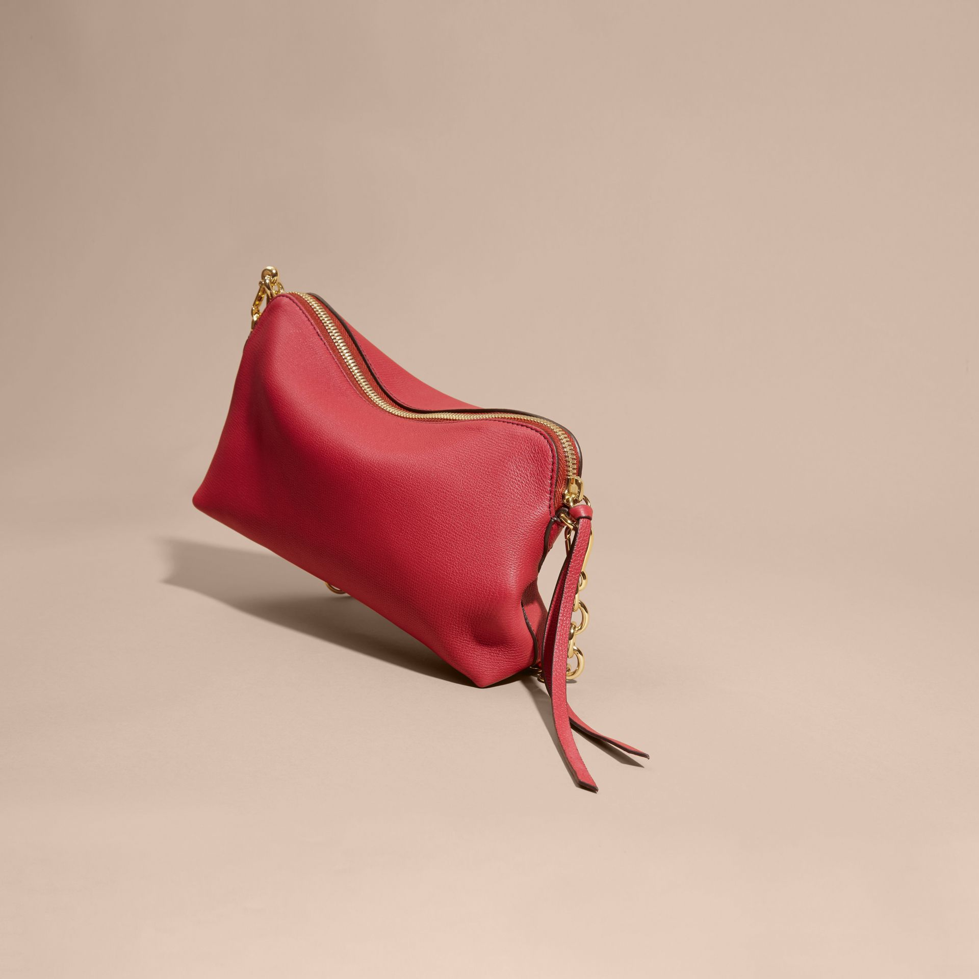 Grainy Leather Clutch Bag Russet Red - gallery image 5
