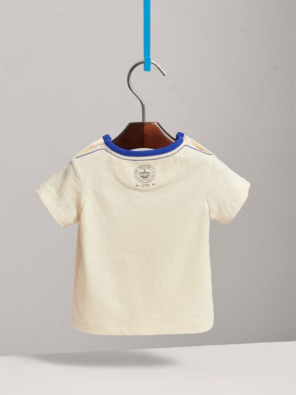 Flocked Emblem Cotton T-shirt in Natural White | Burberry - cell image 3