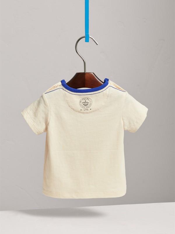 T-shirt in cotone con emblema floccato (Bianco Naturale) | Burberry - cell image 3