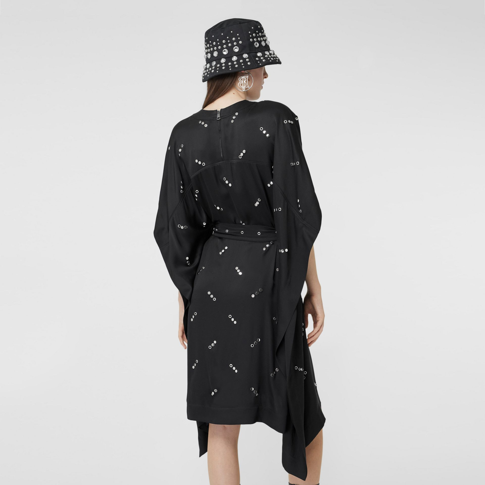 Cut-out Sleeve Embellished Silk Satin Dress in Black - Women | Burberry United States - gallery image 2