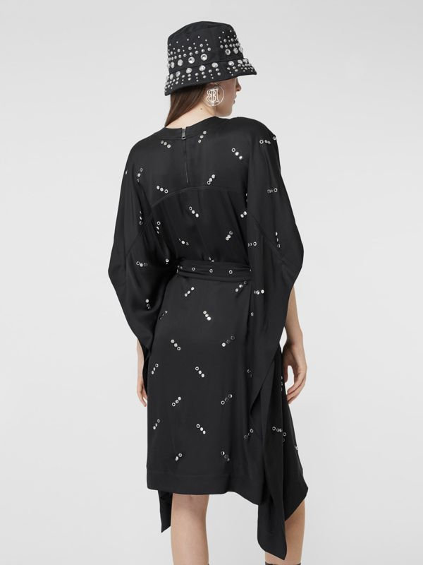 Cut-out Sleeve Embellished Silk Satin Dress in Black - Women | Burberry United States - cell image 2