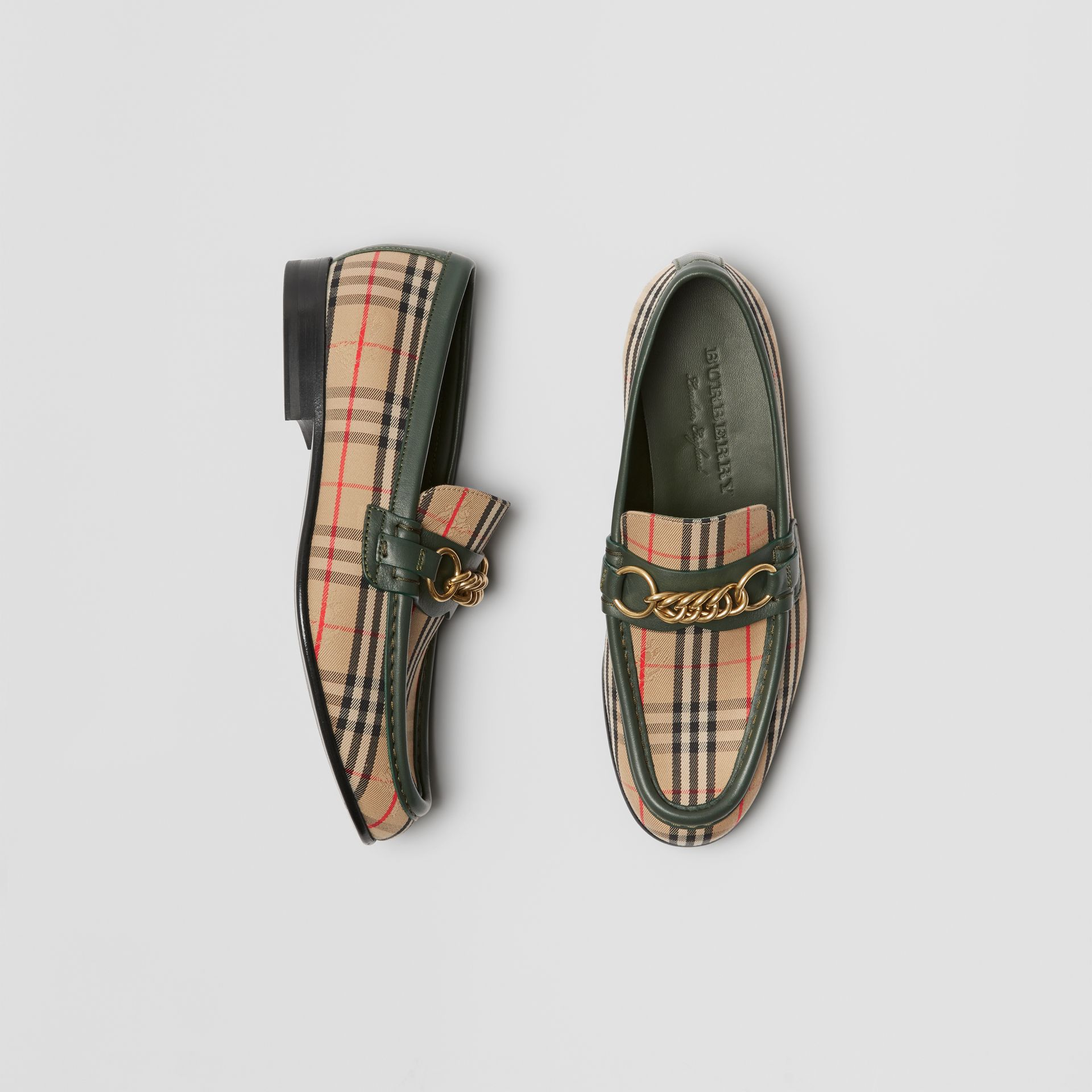 The 1983 Check Link Loafer in Dark Forest Green - Women | Burberry Australia - gallery image 0
